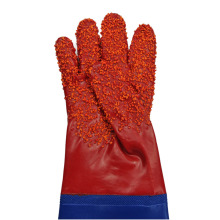 Chubasquero de PVC granulado rojo con manga guantes 60cm