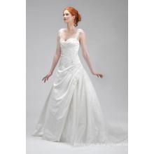 Boa qualidade marfim Applique cetim vestido de noiva