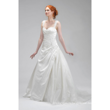 Хорошее качество аппликация из слоновой кости атласа свадебное платье