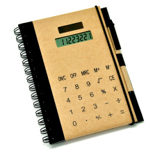 Kraft Spiral Notebook with Solar Power 8 Digits Calculator