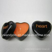 Duftende Soja-schwarze Herz-Form-Zinn-Kerze