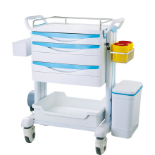 Medical hospital furniture abs emergency medical trolley for hospital usage medicine trolley cart