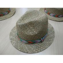 2016 Новейшая новая соломенная шляпа с сетчатой тканой лентой (SW-080017)