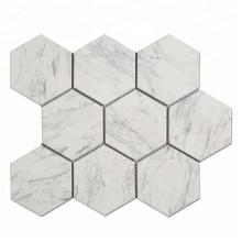 White Wall Hexagon Porcelain Ceramic Mosaic Tile Pattern