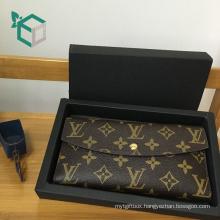 Popular expereinced manufacture drawer design metal printing black folding gift box for women purse