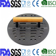 Nonstick Cast Iron Burger Press Mean Press Bacon Press with Wooden Handle