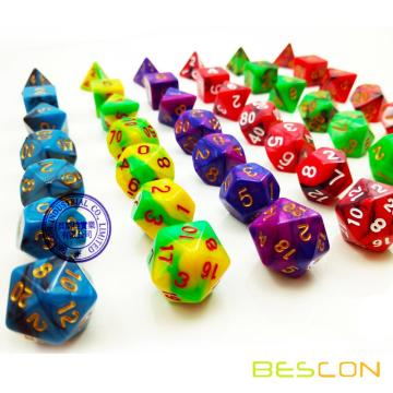 High Quality Custom Two-Tone Gemini Polyhedral Dice, Polyhedral Dice Set