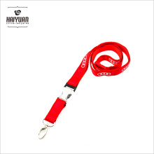 Pms 485c Red Lanyard with Famous Car Logo Printed on 1 Side and Hald Plastic Buckle