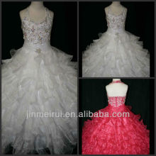 Gorgeous Halter Organza Beaded Ball Gown Designer Little Girls Floor Pageant Dresses