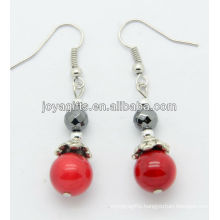Wholesale red coral with hematite faceted beads earring