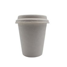 100% Natural Pla Sugarcane Bagasse Pulp Coffee Paper Cups With Lid