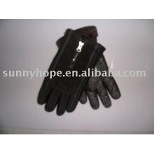 Schwarze Lederhandschuh zum Reiten