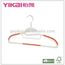 2015 New style plastic hanger with tie rack,non-slip rubber on shoulders and trousers bar