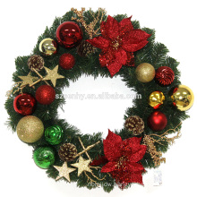 Plastic Christmas Wreath With Decorations