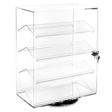 Clear 4 Tier Rotating Sunglasses Display Stand Acrylic Eyeglasses Show Case Shelf