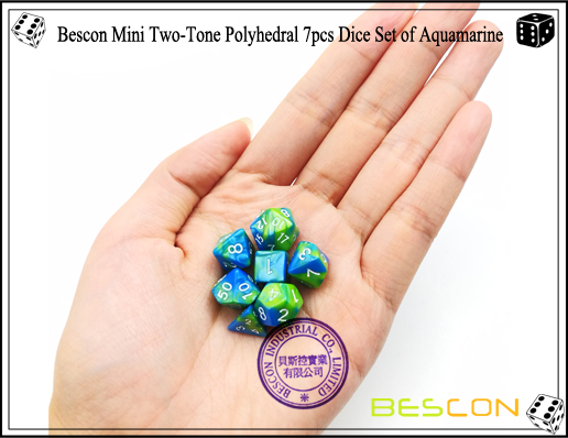 Bescon Mini Two-Tone Polyhedral 7pcs Dice Set of Aquamarine-6