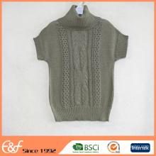 Femmes Crochet Design col haut manches courtes Summer Pull