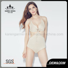 Women Tie Front Swimming Wear Knitted One Piece