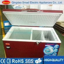 Congelador horizontal del pecho de la puerta de la parte superior horizontal del color rojo 300L