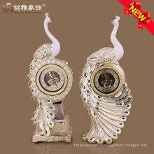 luxury design polyresin peacock desk clock for home ornament