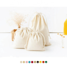 private label 100% Cotton Muslin Drawstring pouch Canvas Large Imprint Cotton Drawstring fabric bag