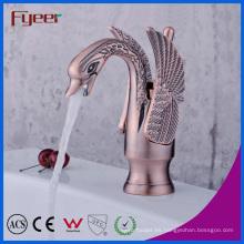Fyeer - Grifo mezclador para lavamanos, cascada, cráneo, bronce antiguo