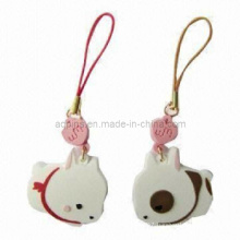 Cartoon Soft PVC Mobile Phone Straps with Screen Wipers (KC-11)