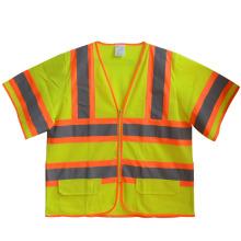 Manga curta malha zíper de alta visibilidade reflexivo segurança t-shirt (yky2804)
