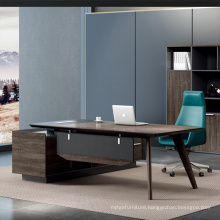 L Shape Manager Office Table Computer Desk with Solid Wood Legs