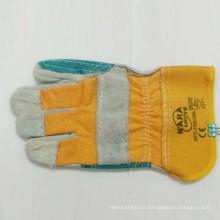 Vaca de alta calidad de cuero dividido de trabajo de seguridad guantes
