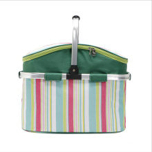 New striped aluminum film portable shopping basket Oxford cloth large capacity thermal insulation cold outdoor picnic basket