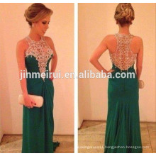 Emerald Green Prom Dress Beautiful Long Beaded Women Gown Nude See Through