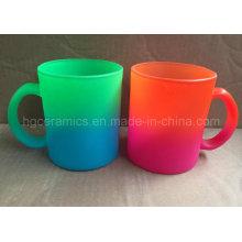 Taza de cristal de neón del color, taza del vidrio d
