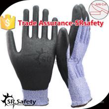 SRSAFETY 18 gauge purple Knitted PU Palm Cut Resistant Gloves,Safety Working Gloves/cut resistant hand gloves