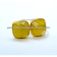 Оптовый Поставщик полудрагоценные халцедон драгоценный камень Безель Установка серьги