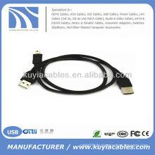 2 in 1 USB 2.0 A TO USB Mini 5 Pin B Stecker Kabel für Kamera MP3 MP4 TELEFON