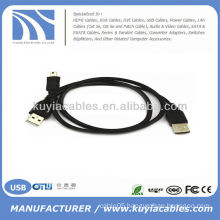 2 in 1 USB 2.0 A TO USB Mini 5 Pin B Male Cable For Camera MP3 MP4 PHONE