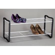 Étagère à chaussures à 2 niveaux noir et blanc