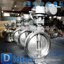Didtek triple compensación de acero inoxidable soplar prueba de eje Wafer tipo válvula de mariposa