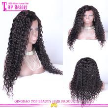 Оптовая монгольские Виргинские фронта шнурка человеческих волос парик глубокая волна бесклеевой парики