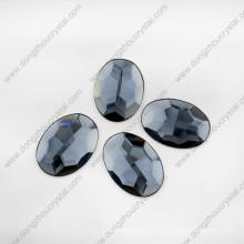 Grey Machine Cut Mirror Glass Stones for Jewelry Decorative