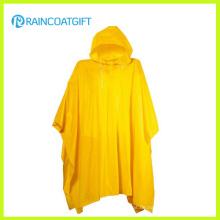 Rvc-181 Wiederverwendbarer Erwachsener gelber PVC-Regen-Poncho