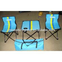 Plegable mesa y silla, piezas populares 3 conjuntos para ir de excursión de camping.