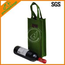 reciclado personalizado 1 bolsa de botella de vino de yute