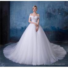 Элегантный off плечо империи линии свадебное платье с шалью HA587