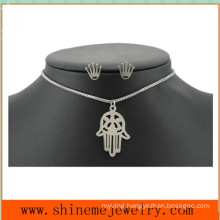 Fashion Titanium Steel Palm Jewelry Set Stainless Steel Crown Nail Simple Hand Necklace (SSNL2647)