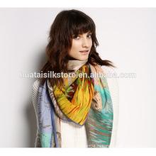 Модная шелковая шаль с большой площади Модный шарф тропического дождя