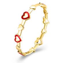 Heart Inset Imitation Gold Plated Bangle Jewelry
