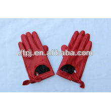 2016 Hot Sale red lady short car driving leather gloves in China