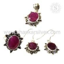Bijoux en argent à la main exquis en rubis Ensemble en rubis Bijouterie en argent indien Grossiste Bijoux en argent Jaipur